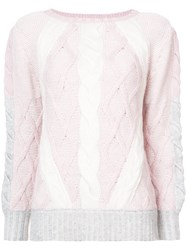 Prabal Gurung Cable Knit Jumper Nylon Viscose Cashmere Wool Pink Purple
