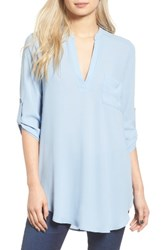 Lush Women's 'Perfect' Roll Tab Sleeve Tunic Forever Blue