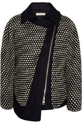 Bouchra Jarrar Oversized Boucle And Wool Blend Jacket Blue