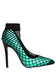Privileged 110Mm Nana Satin And Fishnet Pumps Emerald