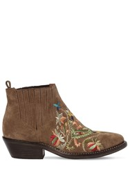 Etro 35Mm Embroidered Suede Boots Tan