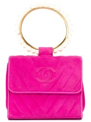 Chanel Vintage Pearl Embellished Hoop Clutch Pink And Purple