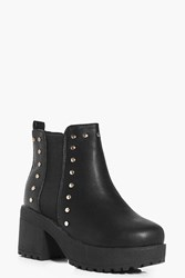 Boohoo Studded Chunky Chelsea Boots Black