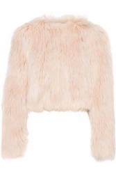 Red Valentino Cropped Faux Fur Jacket Pastel Pink