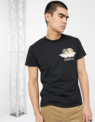 Fiorucci T Shirt In Black With Small Angels Logo