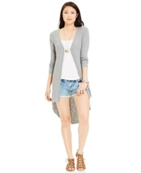 Almost Famous Juniors' Crochet Back High Low Duster