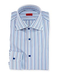 Isaia Striped Mitered Cuff Dress Shirt White Blue