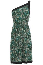 Anna Sui Woman One Shoulder Floral Print Silk Georgette Mini Dress Forest Green