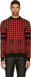 Diesel Black Gold Black And Red Houndstooth Jacquard Kustode Sweater