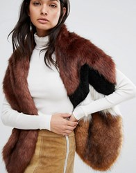 Urbancode Chevron Spliced Faux Fur Scarf Ginger Black Eskimo Brown