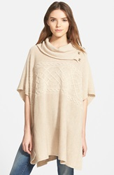 Nydj Cable Cowl Neck Poncho Regular And Petite Oatmeal Heather