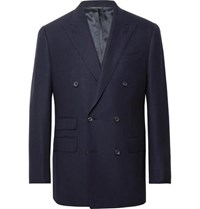 Thom Sweeney Navy Slim Fit Double Breasted Wool Hopsack Blazer Navy