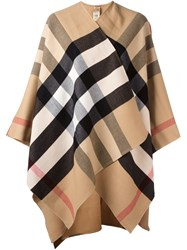 Burberry Brit Plaid Cape Nude And Neutrals