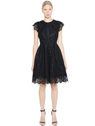 Dice Kayek Pleated Cotton Lace And Taffeta Dress