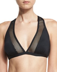 Carmen Marc Valvo Sporty Soul Mesh Racerback Swim Top Black