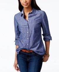 Tommy Hilfiger Roll Tab Sleeve Chambray Button Down Shirt