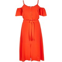 River Island Womens Red Cold Shoulder Frilly Midi Shirt Dress