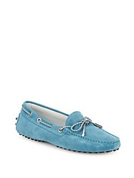 Tod's Lace Up Suede Moccasins Blue