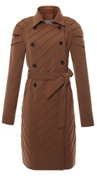 Judy Wu Pleated Shoulder Trench Coat Brown