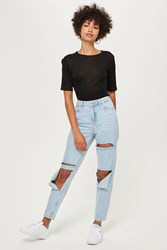 Topshop Moto Slash Rip Mom Jeans Bleach Denim