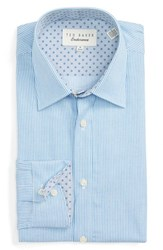 Ted Baker Men's Big And Tall London 'Naldo' Trim Fit Stripe Dress Shirt Blue