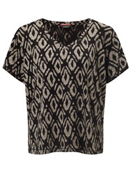 Maison Scotch All Over Printed T Shirt Black Brown
