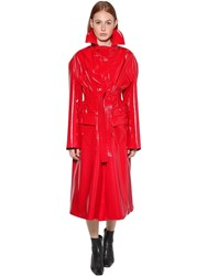 Balenciaga Belted Vinyl Coat W High Collar Red