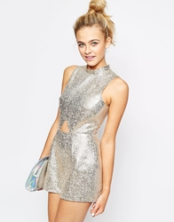 Lashes Of London Metallic Playsuit Silver