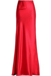 Amanda Wakeley Open Knit Trimmed Fluted Silk Satin Maxi Skirt Crimson