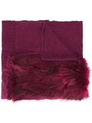 Cutuli Cult Fur Panel Tweed Shawl Pink Purple