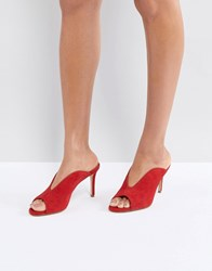 Kg By Kurt Geiger Dipped Front Suede Slip On Mule Red