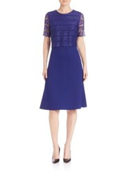 Escada Solid Dress With Lace Overlay Open Blue