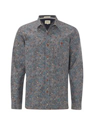 White Stuff Men's Fauna Print Long Sleeve Shirt Chambray