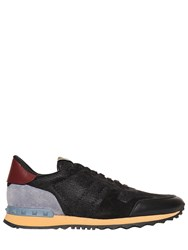 Valentino Rockstud Mesh Suede And Leather Sneakers