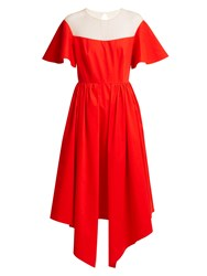 Delpozo Tulle Panel Asymmetric Midi Dress Red
