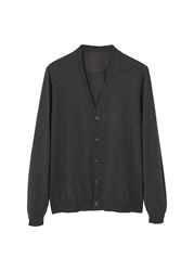 Mango Men's Chunky Knit Wool Blend Cardigan Grey