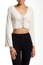 Poof Faux Suede Lace Up Crop Top Metallic