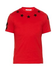 Givenchy Cuban Fit Star Applique T Shirt Red