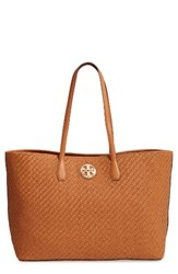 Tory Burch Duet Woven Leather Tote Brown Saddle