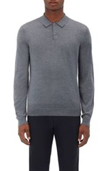 Theory Men's Anvers. New Sovereign Stretch Wool Polo Sweater Grey