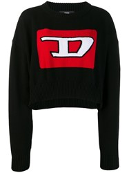 Diesel Cropped Pullover With 3D Intarsia Black