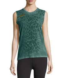 Freecity Leopard Goldenline Sleeveless Tee Green