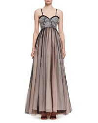 Lanvin Pleated Chiffon And Lace Bustier Gown Black Noir