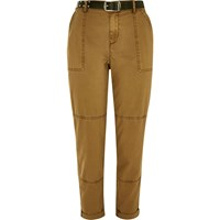 River Island Womens Beige Brown Belted Utility Cargo Pants