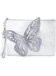 Sophia Webster Butterfly Applique Clutch Bag Black