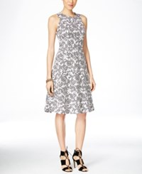 Inc International Concepts Sleeveless Jacquard Fit And Flare Dress Only At Macy's Black White