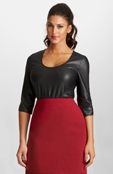 Mynt 1792 Super Stretch Faux Leather And Jersey Bodysuit Plus Size Black