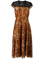Maurizio Pecoraro Floral Lace Midi Dress Yellow Orange