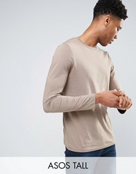 Asos Tall Long Sleeve T Shirt With Crew Neck Fossil Brown