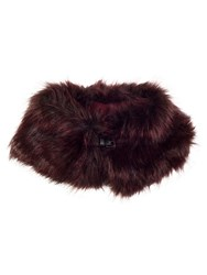 Chesca Faux Fur Collar With Buckle Detail Red